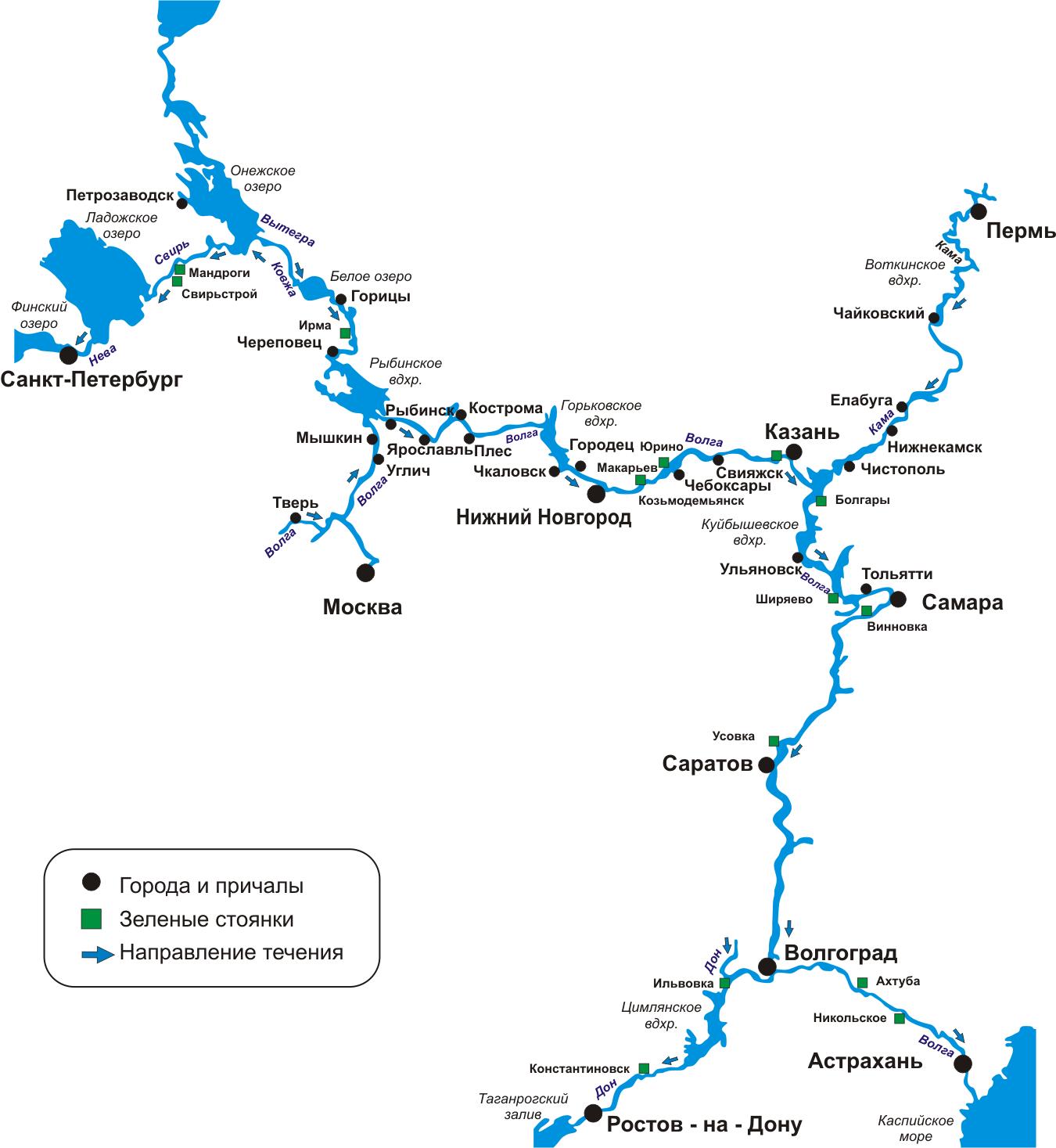 Схема речных круизов по Волге